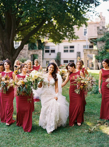festive holiday bridal party