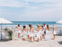 All white gender surprise beach baby shower in La Jolla