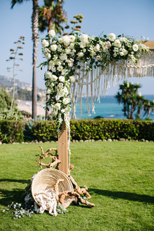 Macrame wedding ceremony backdrop