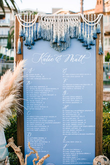 Modern macrame escort card display