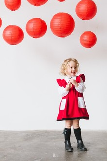 Lunar New Year kids party with red and gold details