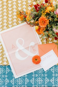 whimsical morning paper inspired wedding invites