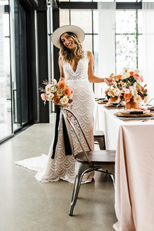 Modern Midwest brewery wedding inspiration with rust and white details