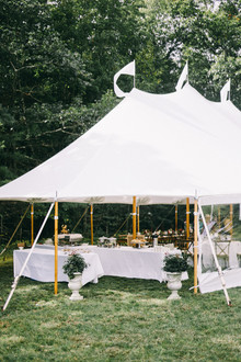 Elegant tent wedding in a backyard