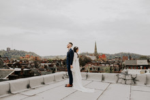 Rooftop wedding portrait