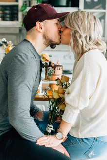 Cozy rainy day engagement photos styled at home