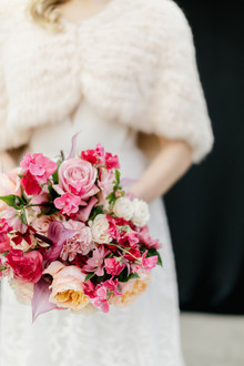Modern floral pink and black wedding ideas