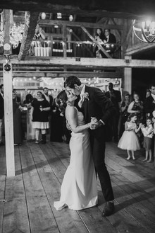 Green and white Maine barn wedding