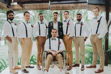 Tropical groomsmen