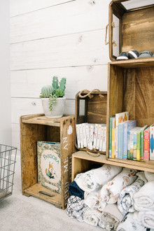 Crate shelves for nursery