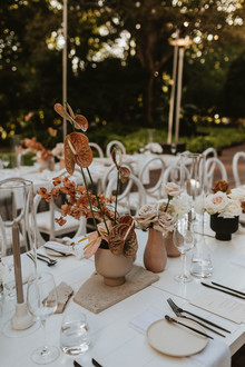 Modern earth tone tablescape