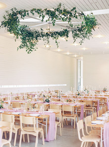Pink + green wedding tablescape