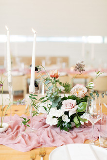 Pink wedding tablescape