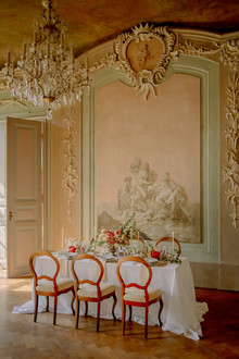 Elegant european wedding tablescape
