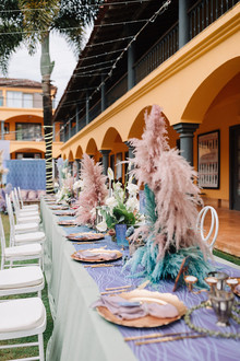 Tablescape with dyed flowers