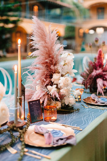Dyed floral centerpiece