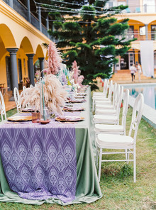 Purple and green tablescape
