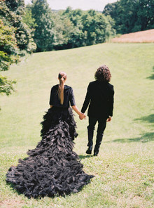 Black feather wedding dress