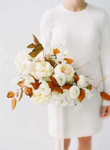 Gorgeous white fall bridal bouquet