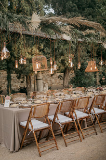 Elegant wedding tablescape with lanterns