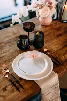 Modern black + blush place settings