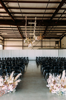 Modern black + blush wedding at Hangar 21