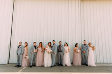 Blush and gray wedding party