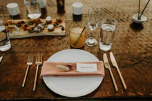 Simple, romantic place setting for wedding