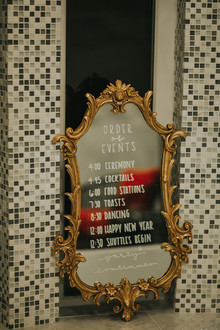 Gold mirror sign for wedding