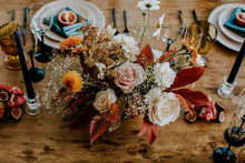 Colorful fall floral centerpieces