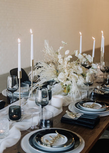 Industrial black and white tablescape