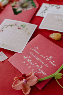 red tropical wedding invitations