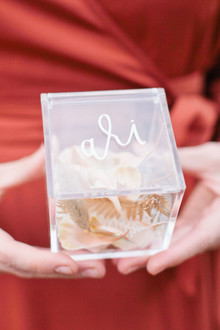 calligraphy on acrylic favor box