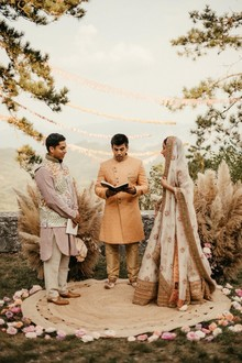 modern Indian wedding ceremony with pampas grass