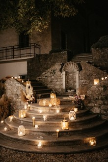 candlelight at castle wedding
