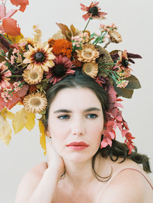 Dramatic floral bridal headpiece