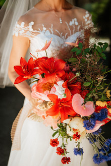 bright red bridal bouquet
