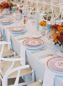Red and blue tablescape