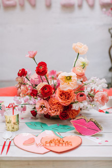 Red centerpiece for Valentine's florals