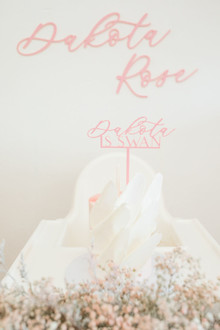 calligraphy cake topper for firsts birthday