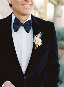 black velvet groom's suit