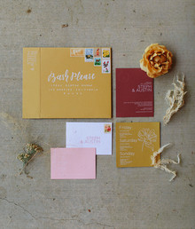 mustard + burgundy wedding invitations