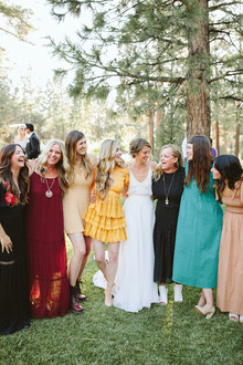 colorful wedding guest fashion