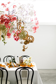 unique hanging floral installation