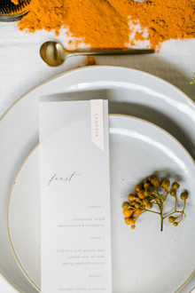 elegant, minimalist dinner menu