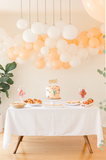 white and peach balloon backdrop