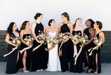 modern black bridesmaids dresses