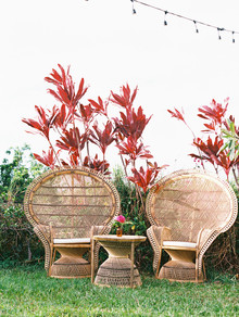 peacock chairs for bohemian wedding