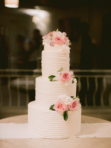 simple pink and white wedding cake