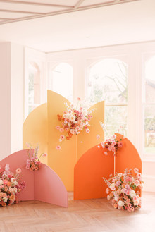 Modern color block wedding backdrop